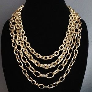 Layered gold mixed chain link necklace